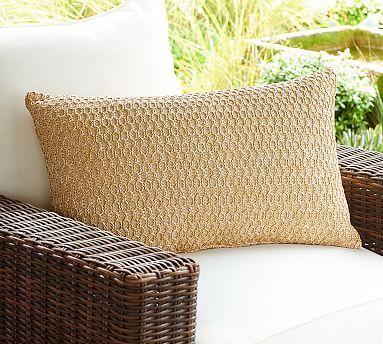 Honeycomb Faux Fiber Indoor Outdoor Pillow 16 X 26 Natural