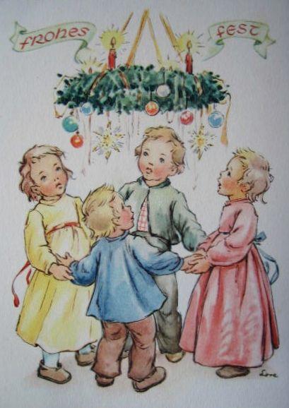Vintage Christmas Card By artist Lore Hummel - 1940