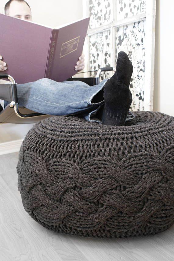 DIY Knitting PATTERN - Chunky Cable Knit Pouf (2012009): chunky knit ...