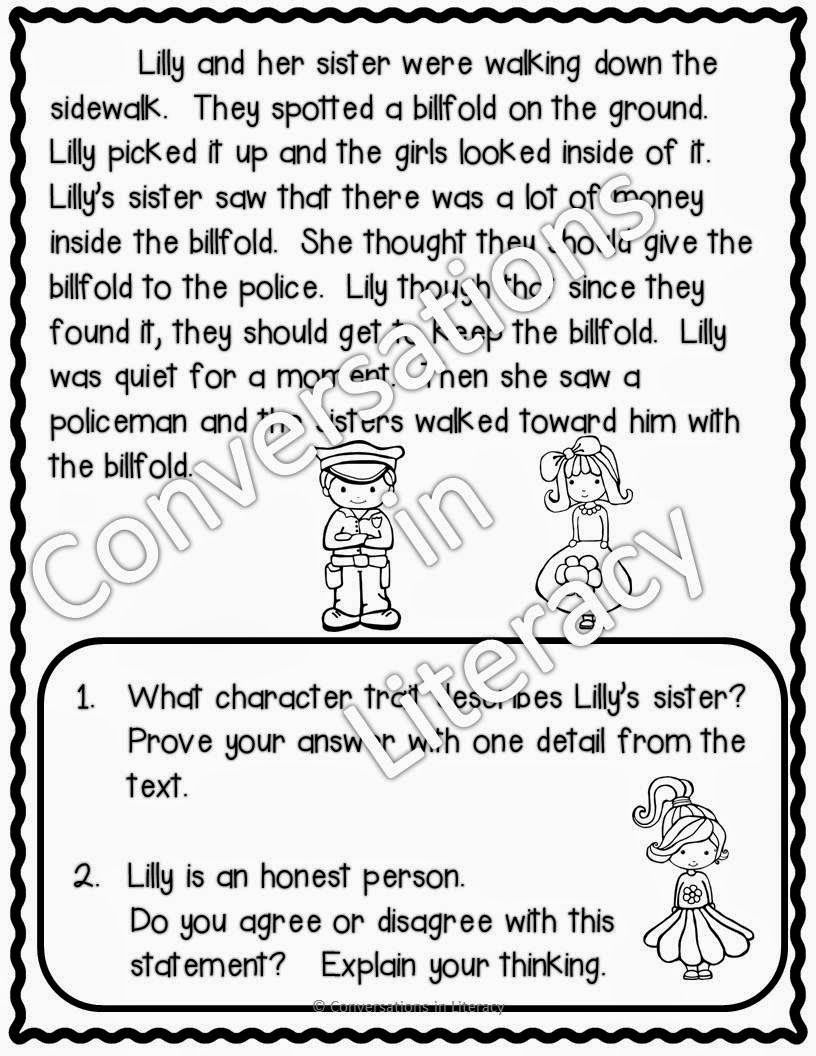 Super Sleuth Blog Hop Stop 7 Conversations In Literacy Character Trait Passages Character Trait Worksheets Character Trait