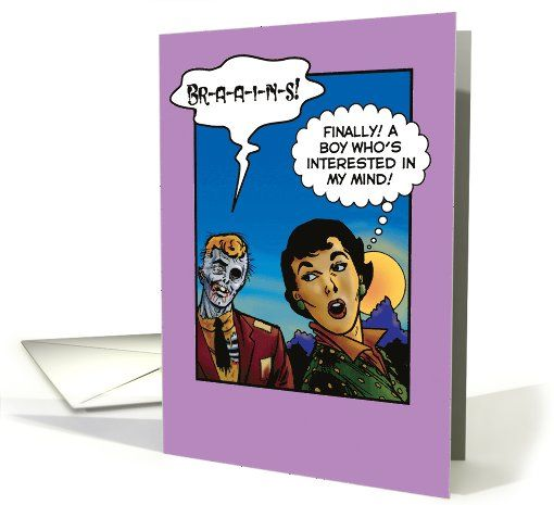 Zombie Brains Valentines Day Paper Card