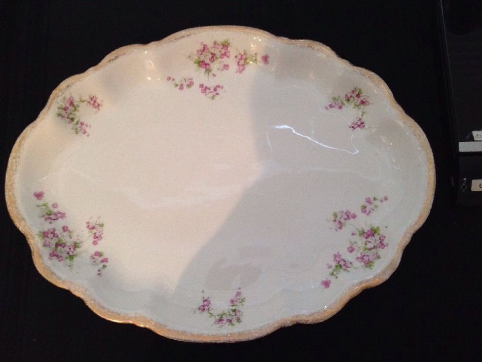 Homer Laughlin Oval Platter Pink Roses Antique China Serving Tray Lge Dinnerware #HomerLaughlin