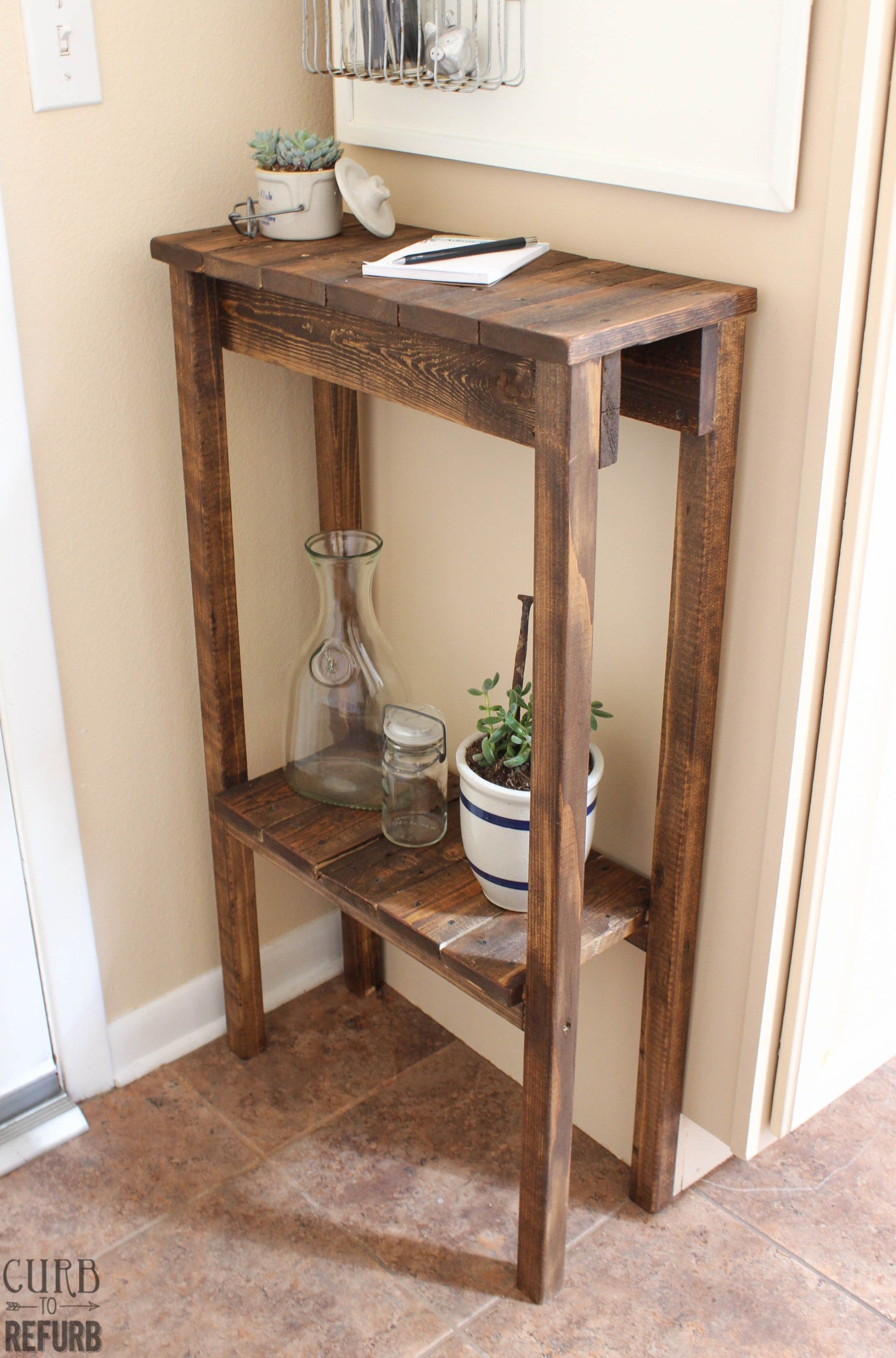 entry tables for small spaces. Build A Simple Console Table Or End For Under 10 Using Old Pallet Wood Entry Tables Small Spaces D