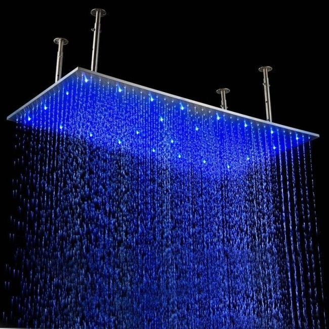 Juno Luxury Brushed 20 40 Large Led Rain Shower Head With Images