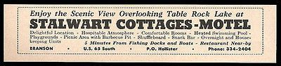 Stalwart Cottages Motel Ad Branson Missouri 1964 Table Rock Lake Roadside Ad