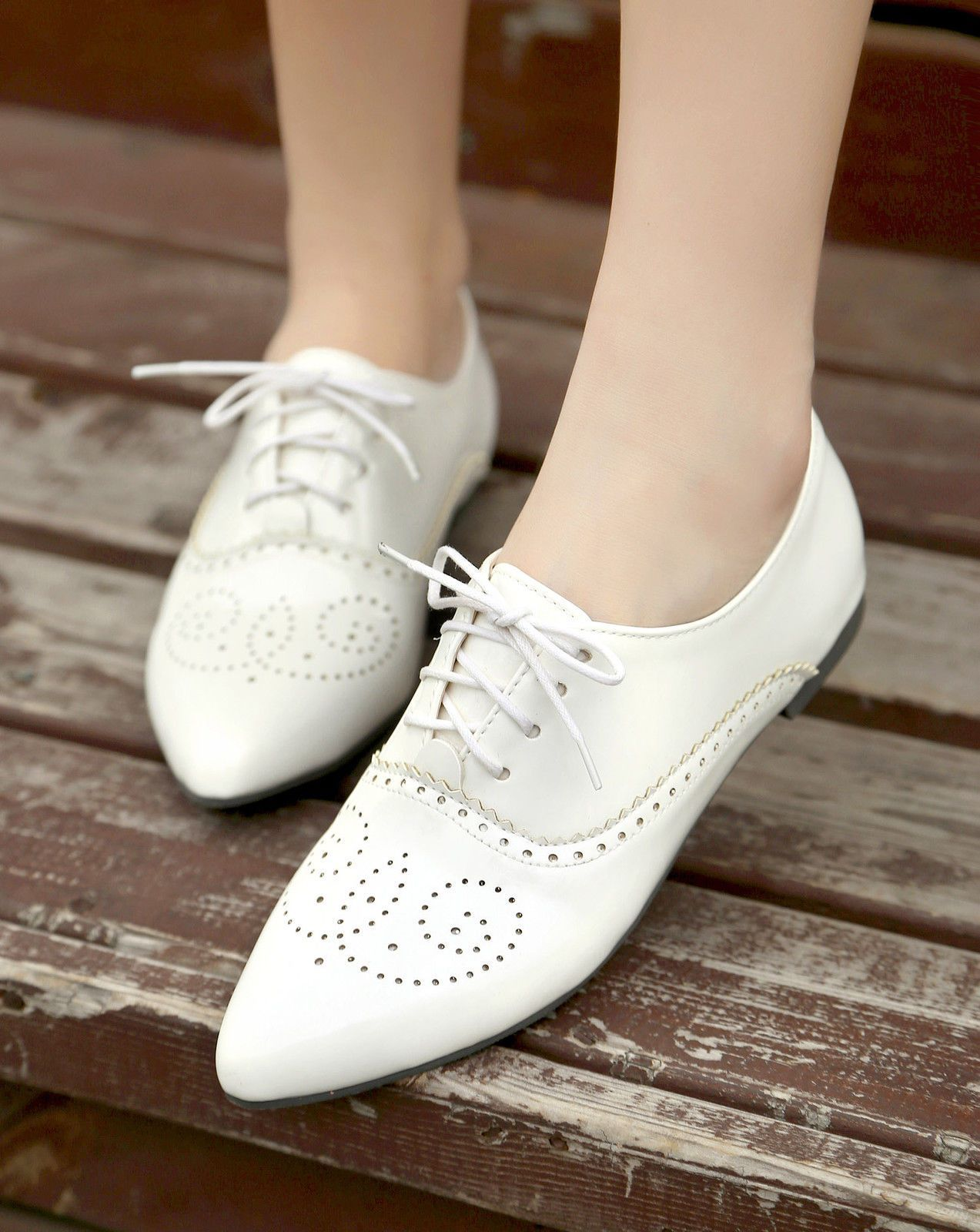 Donna Flat Pointy Toe Loafer Lace Up Boat Brogue Pumps Causal Boat Up scarpe   16430a