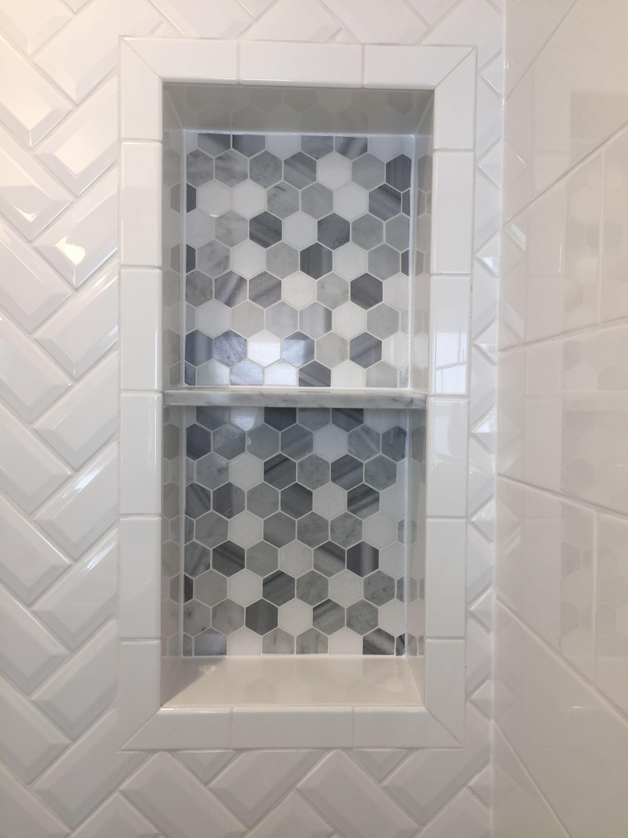 - Double Niche Vertical With Marble Hexagon Mosaic Diy Bathroom