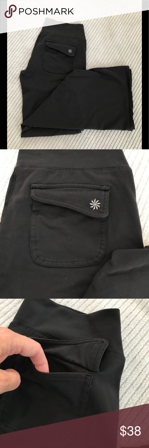 """d6a52ebc4f820 Athleta Fusion Flare Flap Pocket Yoga Pants Athleta fusion flare black wide  leg yoga workout pants With gusset and rear flap pockets. 3"""" wise waist  band."""