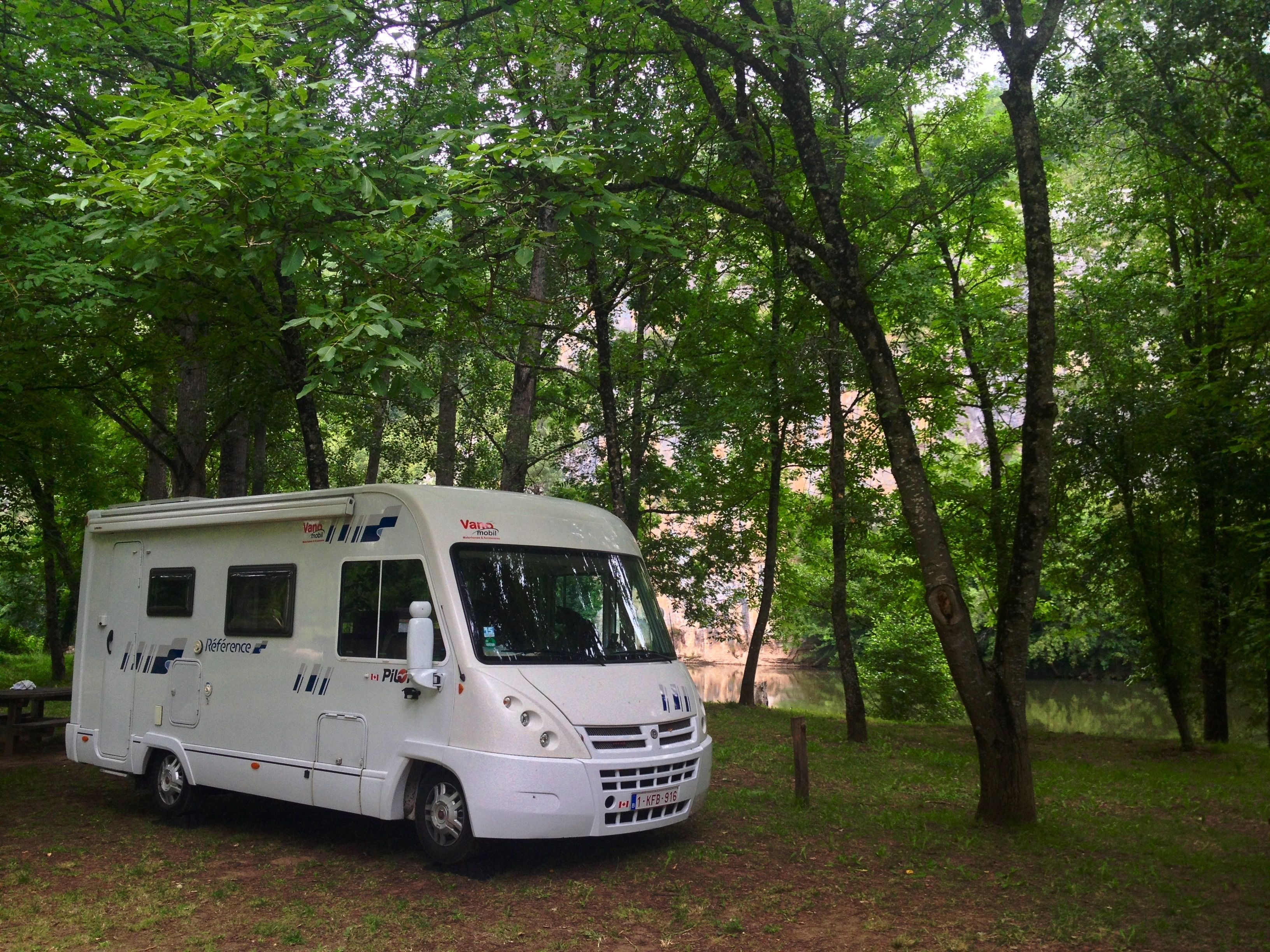 Reflections on motorhome living after 90 days on the road. Day 59: Parked under the trees in Bouziès, France.