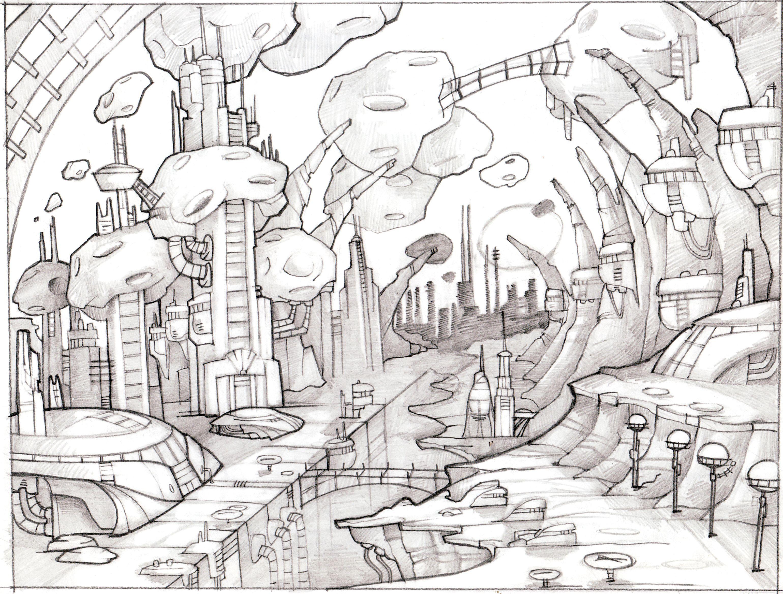 Фантастический город рисунки карандашом, порно русское трахнул сонную
