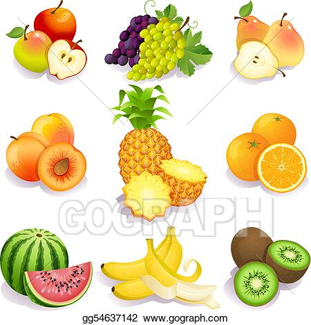 Eps Vector Fruits Stock Clipart Illustration Gg54637142 Gograph In 2020 Clip Art Fruit Vector Fruit Icons