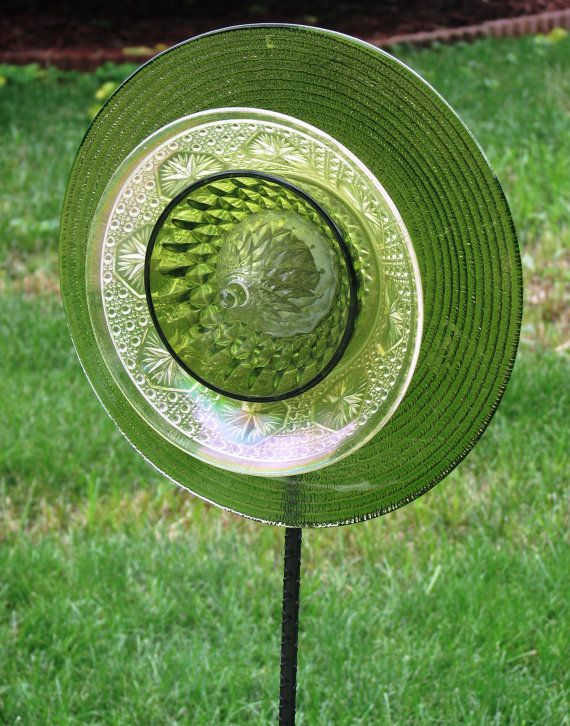Olive Green Charger size upcycled Glass Garden by GardenGlitz, $35.00