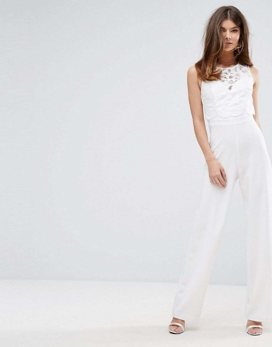 special for shoe newest sale retailer Lipsy Wide Leg Jumpsuit With Lace Overlay - White | Wedding ...