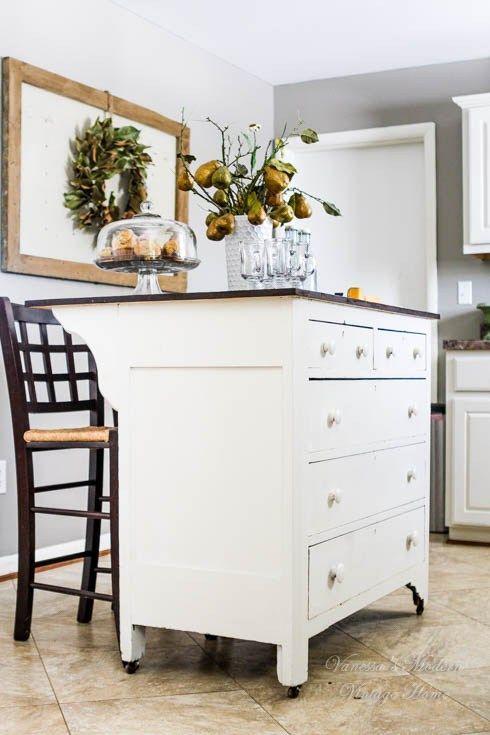 Need Kitchen Storage? Make A Kitchen Island From A Dresser