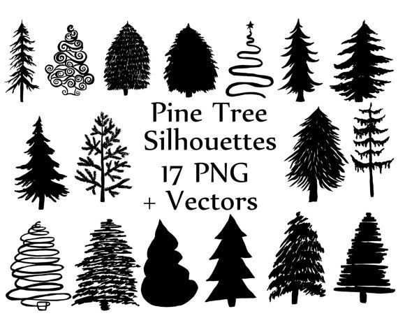 Christmas Tree Silhouette Clipart Pine Trees Clipart Doodle Trees