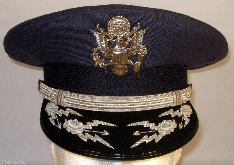 1dd7999b39d USAF US Air Force Male Field Officer Service Dress Blues Hat Cap Silver  Bullion
