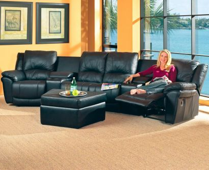 home theater reclining sectional sofa big brown pillows black seating room