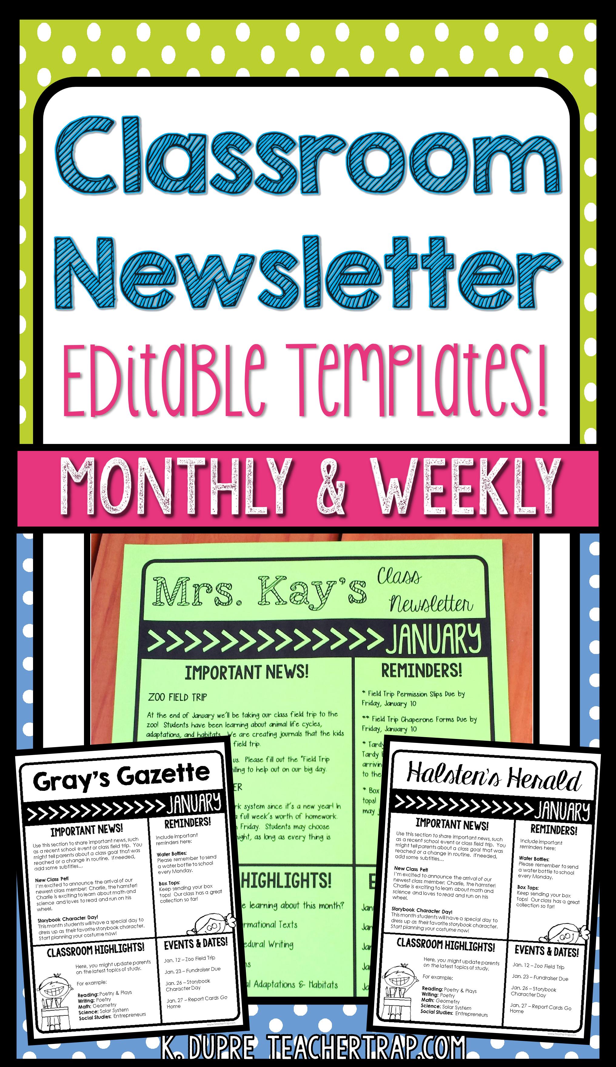 editable classroom newsletter class teaching ideas pinterest