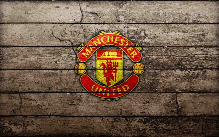 download wallpapers manchester united logo mu wooden background