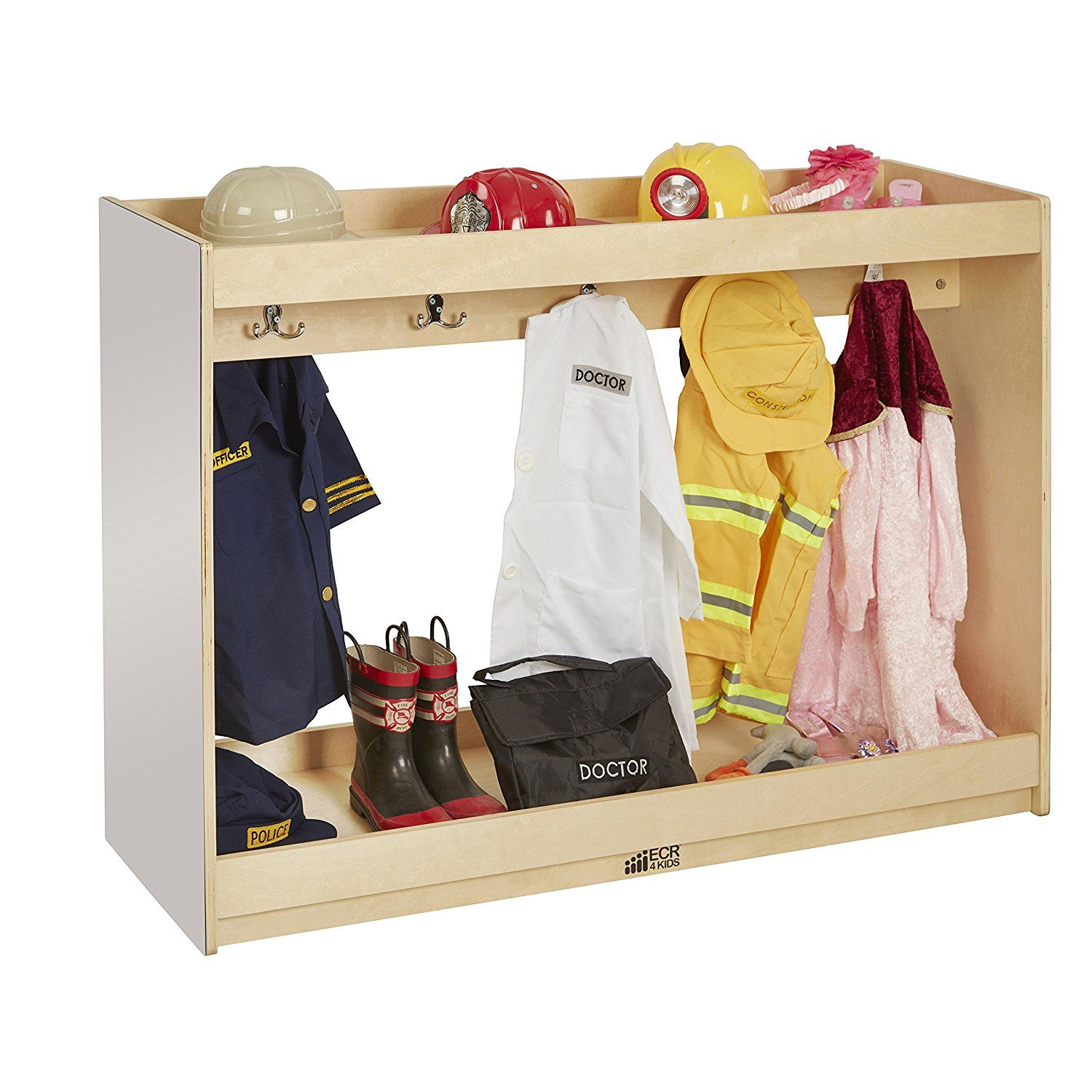 Home Daycare Design Ideas: ECR4Kids Dress-Up Island With Coat Hooks And Shoe Tray