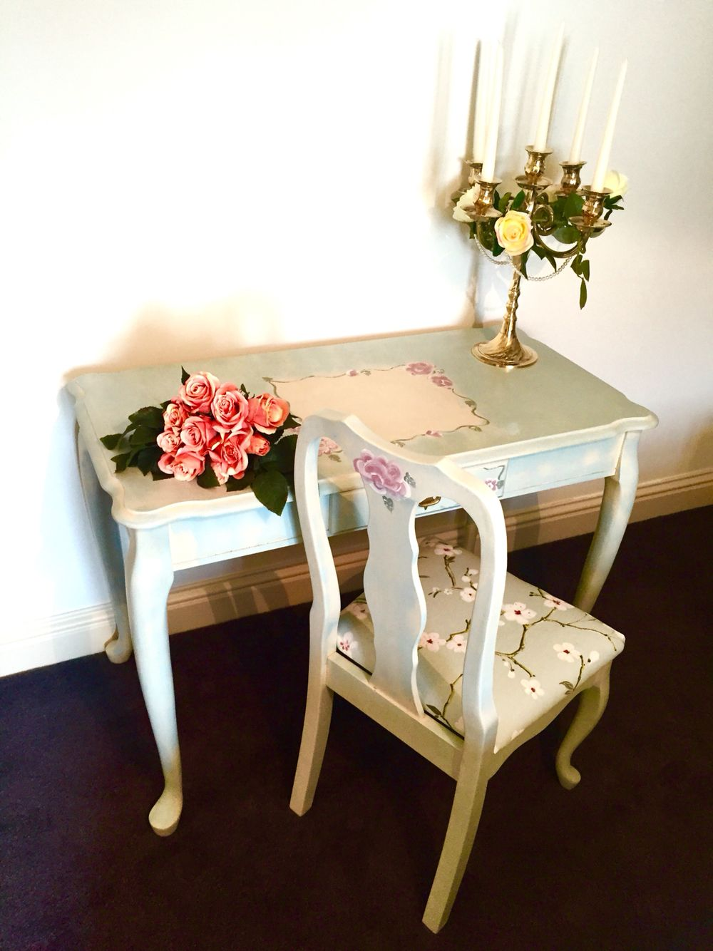 Cream Hall Table shabby chic hall table and chair. painted in general finishes