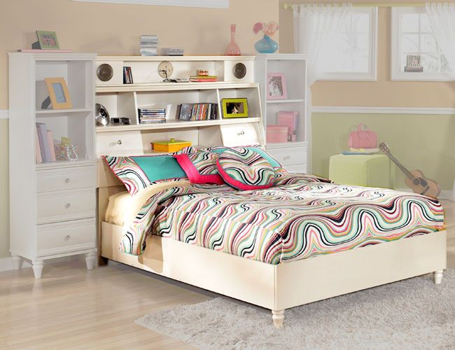 White Youth Full Bookcase Bed With Audio Speakers Bookshelf Bookshelf Headboard Bookcase Bed Bookcase Headboard