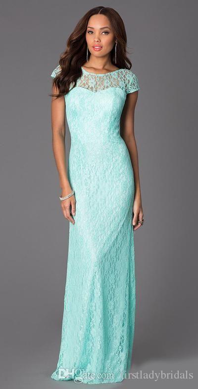 2015 Mint Green Lace Bridesmaid Dresses Cap Sleeves Sheath Long ...