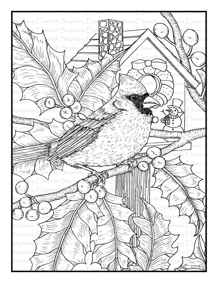 Cardinal And Holly 8 1 2 X 11 Printable Instant Download Coloring Page Abstract Coloring Pages Pattern Coloring Pages Mandala Coloring Pages