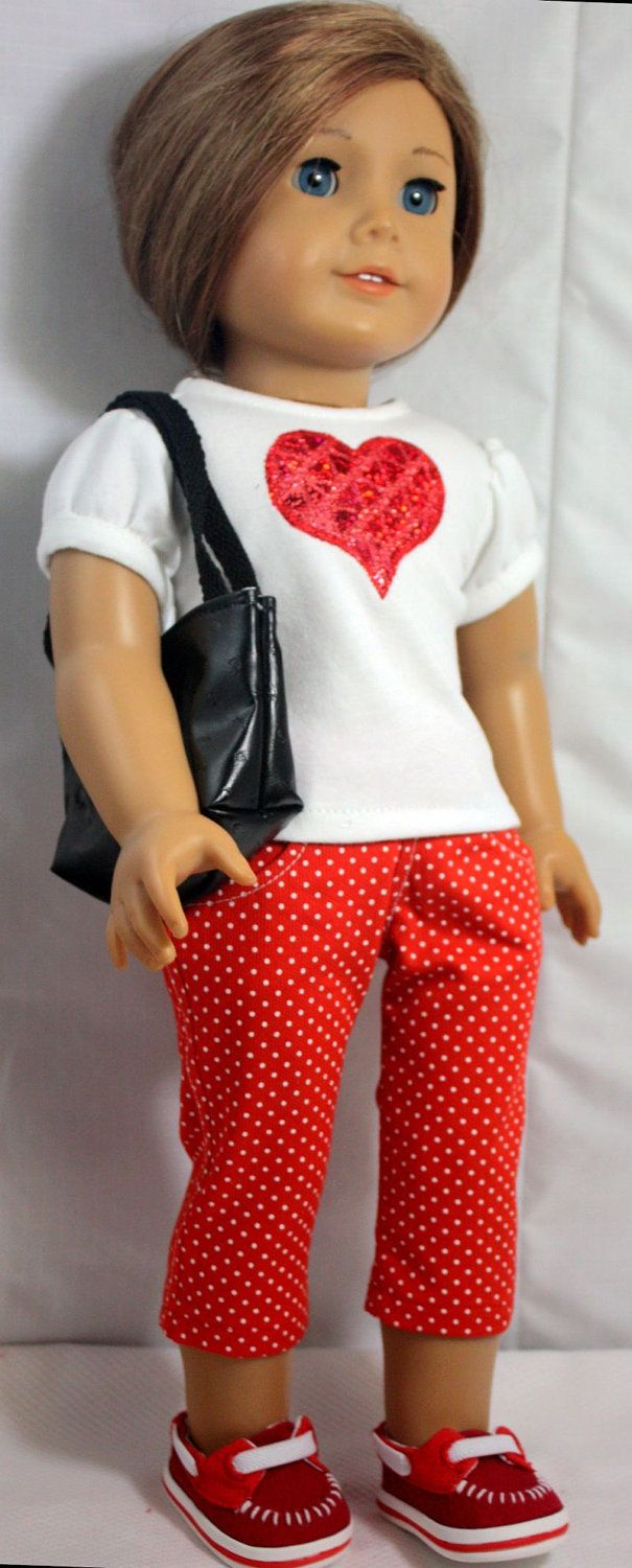 American Girl Doll ClothesRed and White by buttonandbowboutique #americandolls