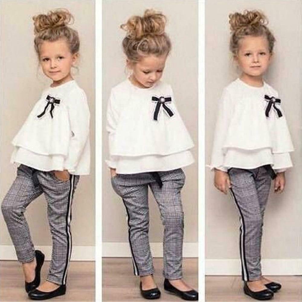 Baby Kids Girls Outfits Ruffle T Shirt TopsChecked Pants #fashion