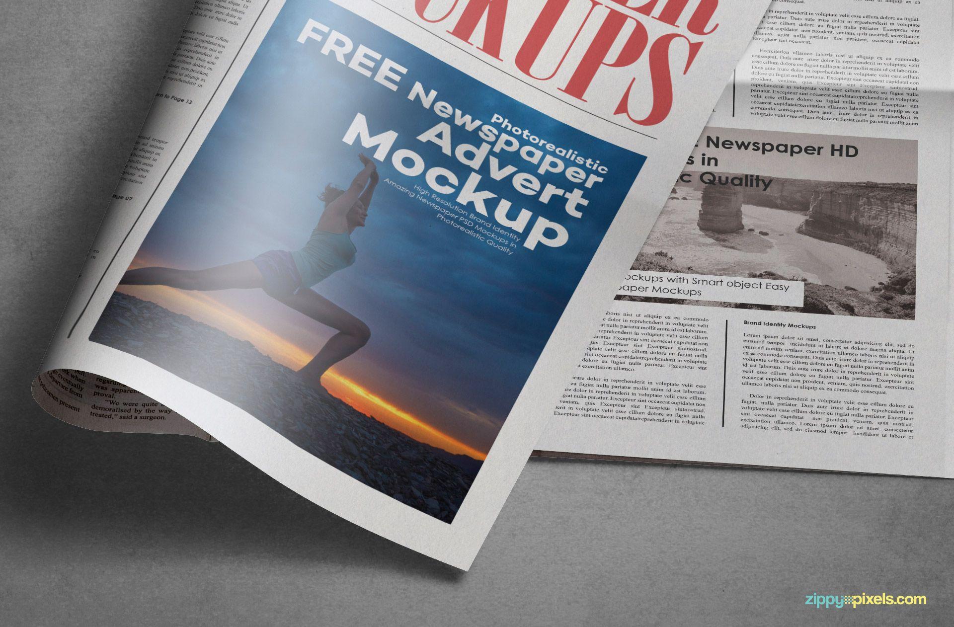 Free Tabloid Newspaper Mockup Zippypixels Newspaper Tabloid Newspapers Mockup