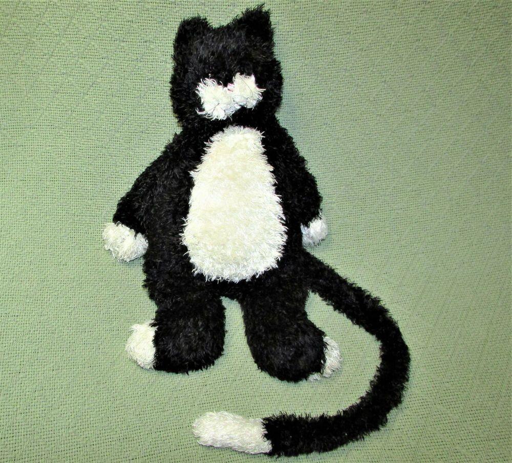 17 Jellycat Tuxedo Kitten Bunglie Cat Black White Stuffed Animal Long Tail Toy Jellycat Cherno Belyj Kotenok