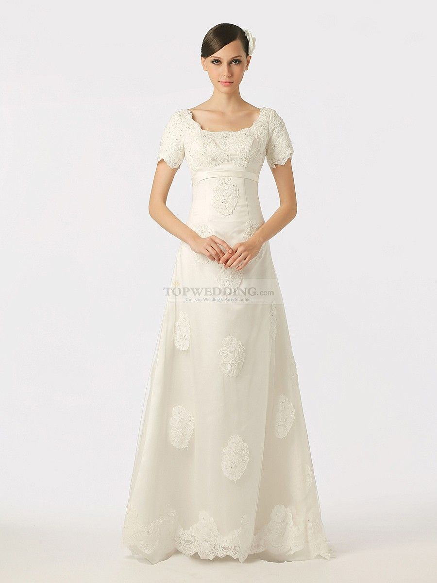 Short sleeved scoop neck appliqued tulle over satin wedding dress