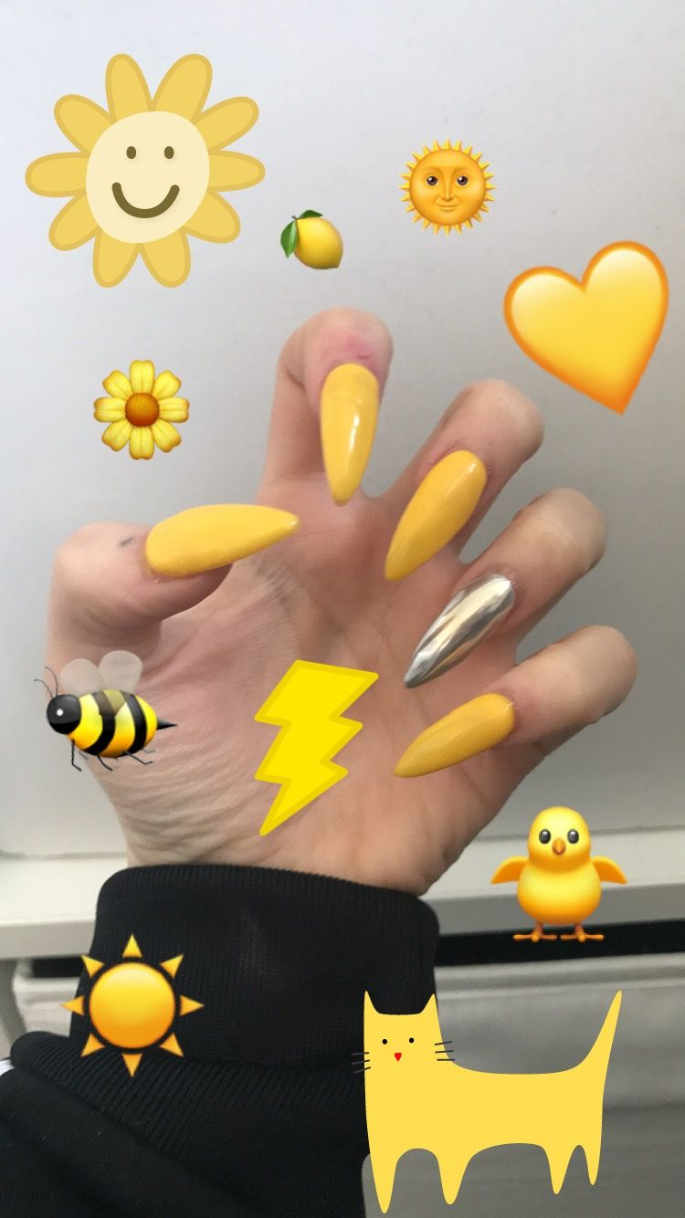 yellow nails | Nails | Yellow nails, Stiletto nails, Nails