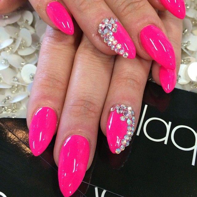 Hot Pink Bling Nails Pink Bling Nails Pink Nail Designs Hot Pink Nails