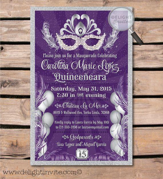 Purple and Silver Masquerade Party Quinceaera invitations mi