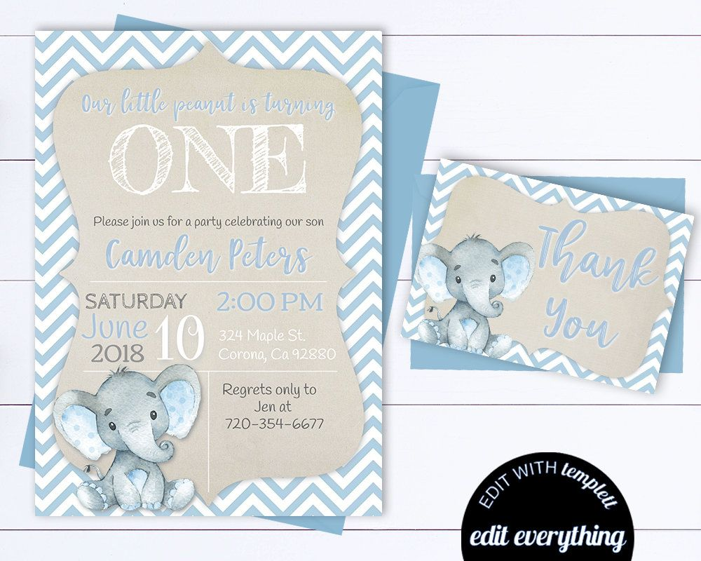 Blue Elephant Birthday Invitation Boy Elephant Birthday  Etsy
