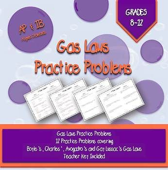 Gas Laws Worksheets and Key in 2018   AP Chemistry   Pinterest ...