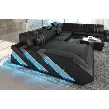 XL Ledersofa APOLLONIA mit LED Beleuchtung - schwarz-grau  Modern