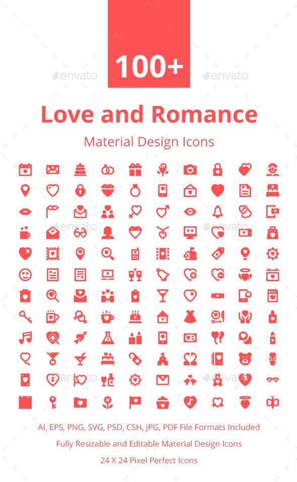 100 Love And Romance Material Icons Icon Design Icon Design