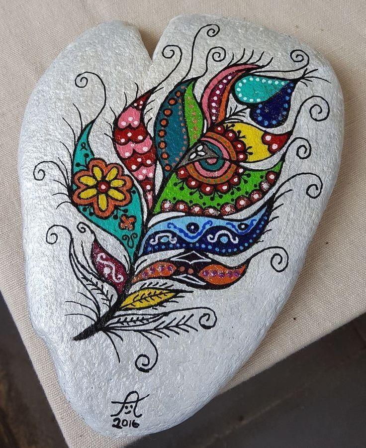 #painting Steinkunst, bemalte Steine DIY, Acryl, Rock painting, Hobby, Malerei, Feder, #Painted #Rock 35 Smart Painted Rock Ideas