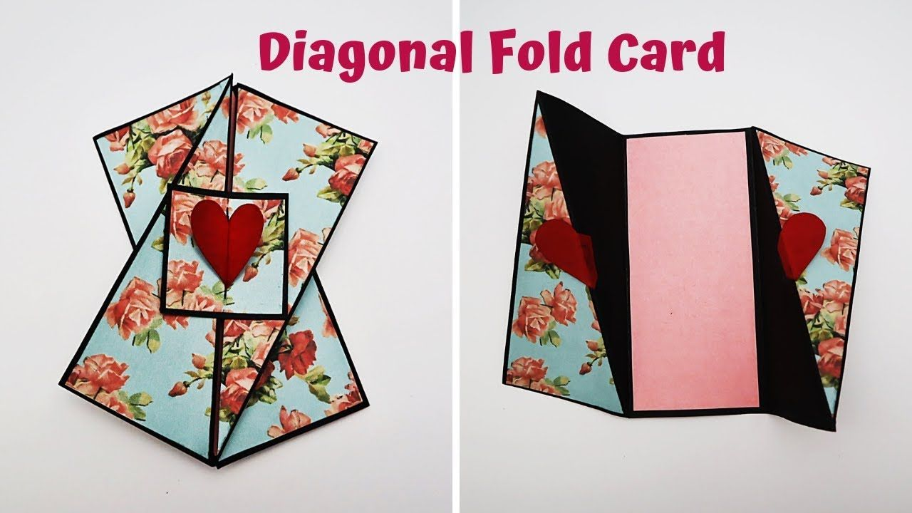 Diagonal Fold Card Tutorial Card For Scrapbook Explosion Box