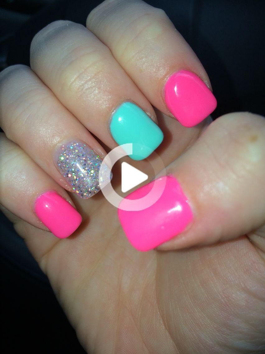 Pink and teal cute summer nails Pink and teal cute summer nails