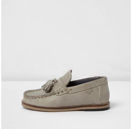 Mini boys grey leather tassel loafers