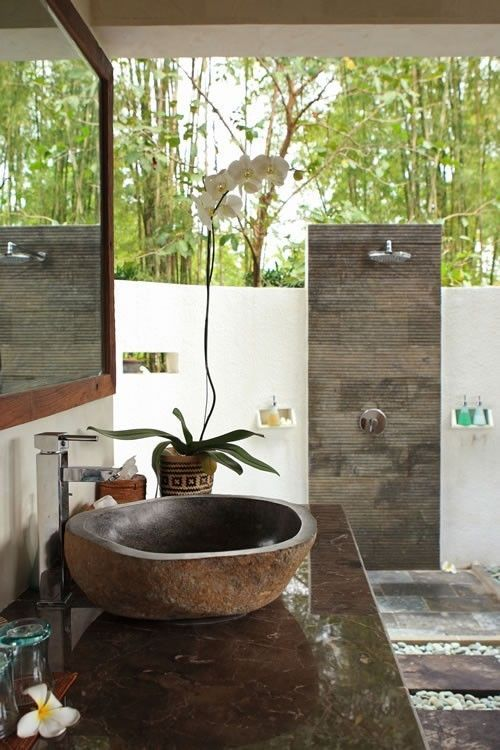 Bathrooms with Natural Influences  Outside In  Balinese