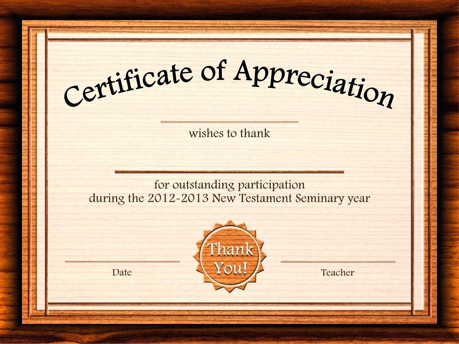 Template Editable Certificate Of Appreciation Template Free