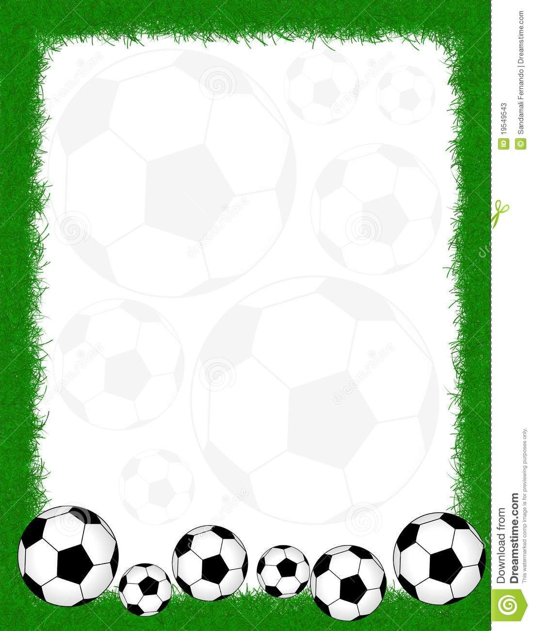 Soccer Balls On Beautiful Green Grass Frame Writing Paper