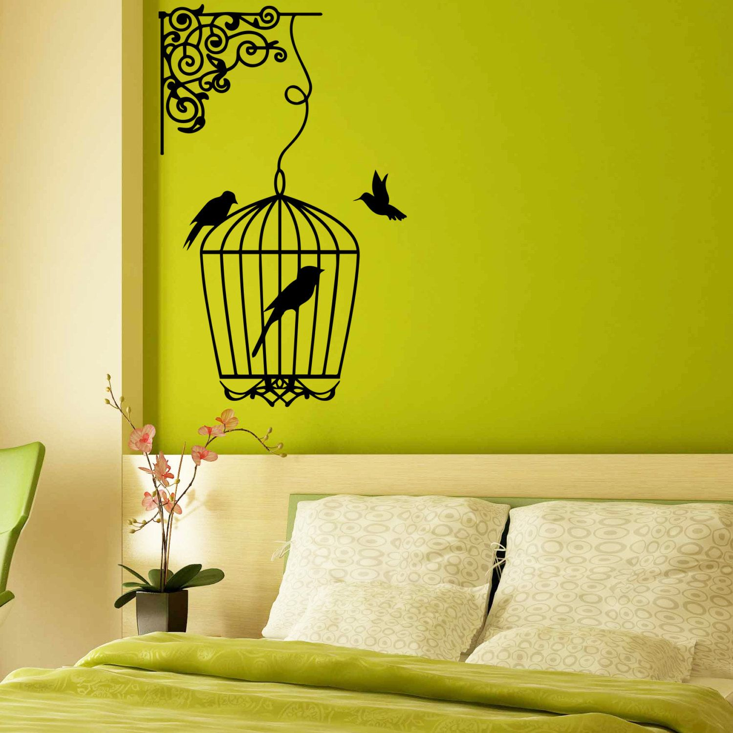 Wall Decal Bird Cages With Birds Design Wall by DecalsfromDavid ...