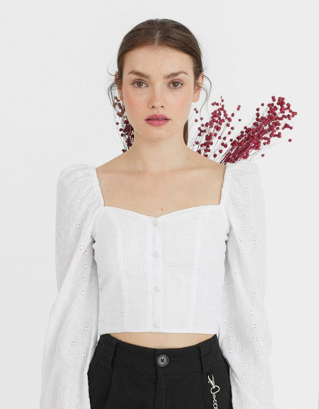 c000987b035 Swiss embroidered top with sweetheart neckline - Just In | Stradivarius  United Kingdom