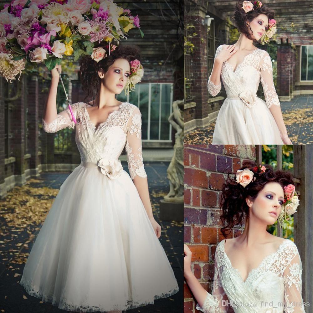 Luxury Tulle Three Quarter Sleeve A Line Wedding Dress: Beach Three Quarter Sleeves Short Wedding Dresses Real